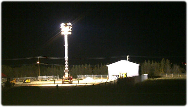 Light tower at night